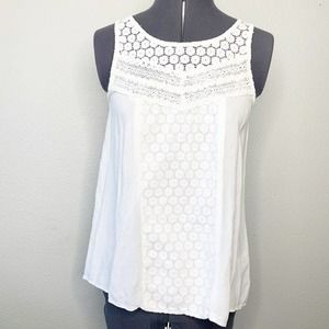 Braeve White Floral Lace Cut Out Back Tank Top XS